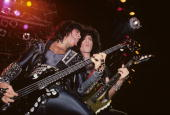 Gene Simmons and Bruce Kulick of Kiss performing at Nassau Coliseum in UniondaleLong Island on November 26 1984