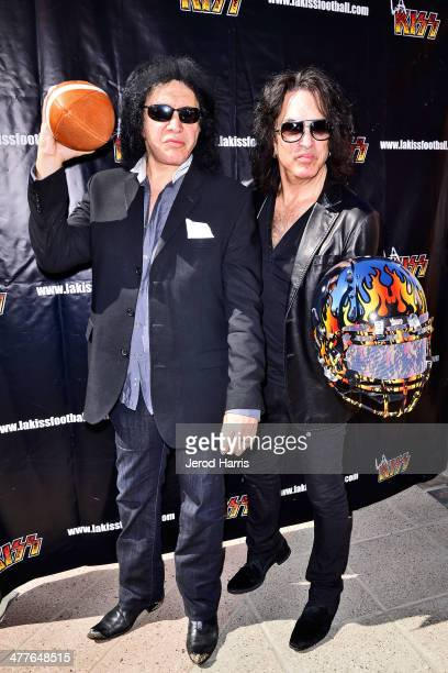 Gene Simmons and Paul Stanley attend LA KISS 2014 AFL season media day at the Honda Center on March 10 2014 in Anaheim California