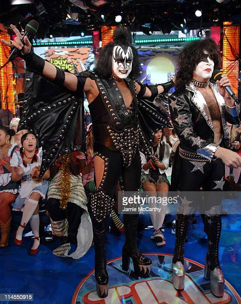 Gene Simmons and Paul Stanley of Kiss during Kiss and Lady Sovereign Vist MTV's 'TRL' October 31 2006 at MTV Studios Times Square in New York City...