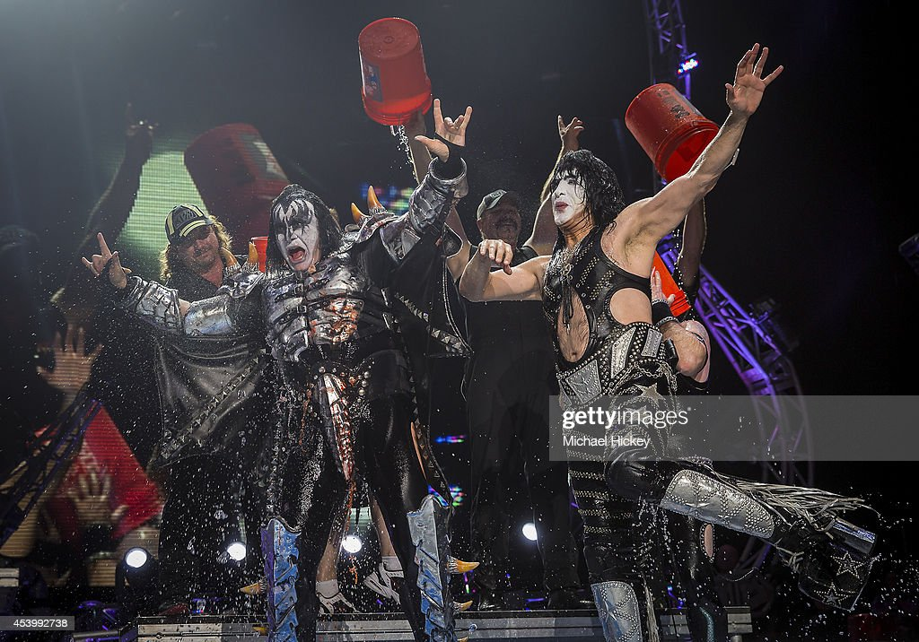 Gene Simmons and Paul Stanley of the band KISS participates in the ALS Ice Bucket Challenge at Klipsch Music Center on August 22 2014 in Noblesville...