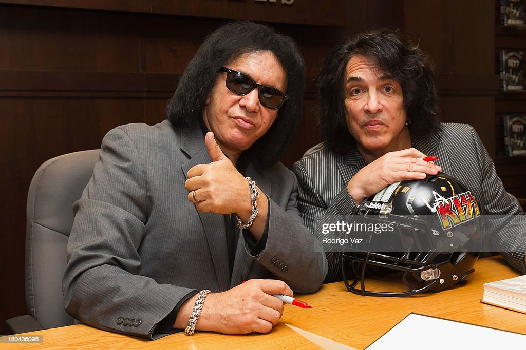 <a gi-track='captionPersonalityLinkClicked' href=/galleries/search?phrase=Gene+Simmons&family=editorial&specificpeople=138593 ng-click='$event.stopPropagation()'>Gene Simmons</a> (R) and Paul Stanley of the band KISS sign copies of their new book 'Nothin' To Lose' at Barnes & Noble bookstore at The Grove on September 12, 2013 in Los Angeles, California.
