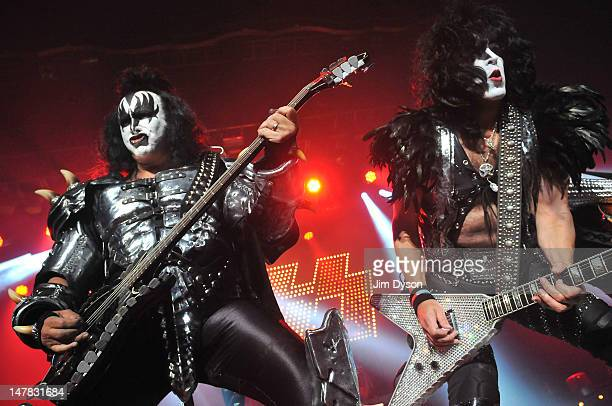 Gene Simmons and Paul Stanley of US rock group Kiss perform live on stage for a oneoff Independence Day show as a fundraiser for the Help for Heroes...