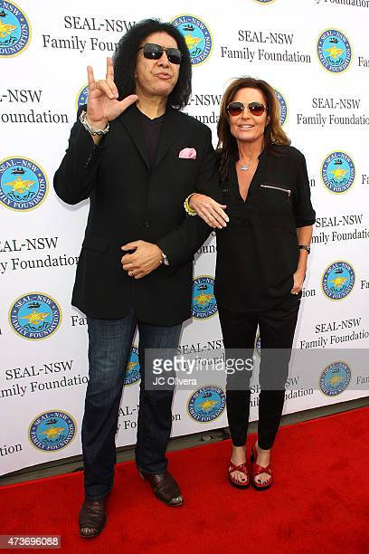 Gene Simmons and Sarah Palin attend the SEALNSW family foundation 2nd annual dinner gala at USS Iowa on May 16 2015 in San Pedro California
