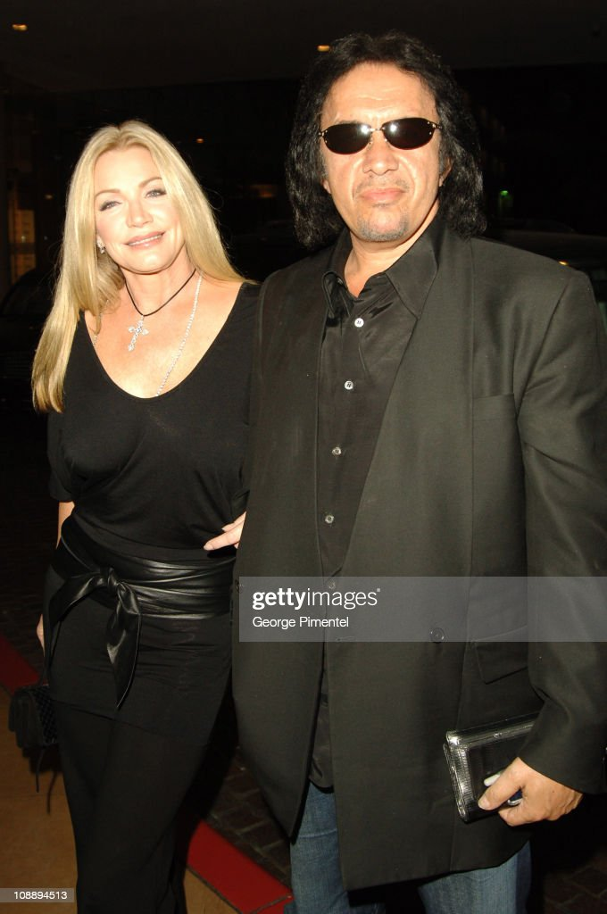 Gene Simmons and Shannon Tweed during 2006 Clive Davis PreGRAMMY Awards Party Red Carpet at Beverly Hilton in Beverly Hills California United States