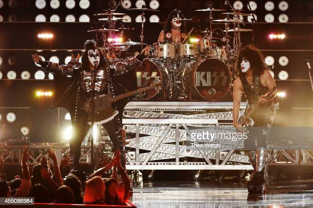 Gene Simmons and Tommy Thayer of KISS performs onstage at Fashion Rocks 2014 presented by Three Lions Entertainment at the Barclays Center of...