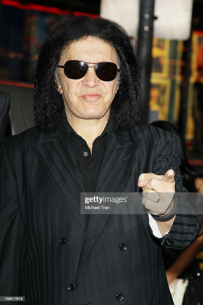 <a gi-track='captionPersonalityLinkClicked' href=/galleries/search?phrase=Gene+Simmons&family=editorial&specificpeople=138593 ng-click='$event.stopPropagation()'>Gene Simmons</a> arrives at the Los Angeles premiere of 'The Last Stand' held at Grauman's Chinese Theatre on January 14, 2013 in Hollywood, California.