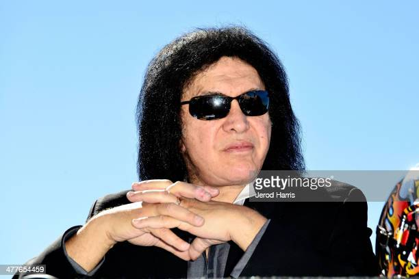 Gene Simmons attends LA KISS 2014 AFL season media day at the Honda Center on March 10 2014 in Anaheim California