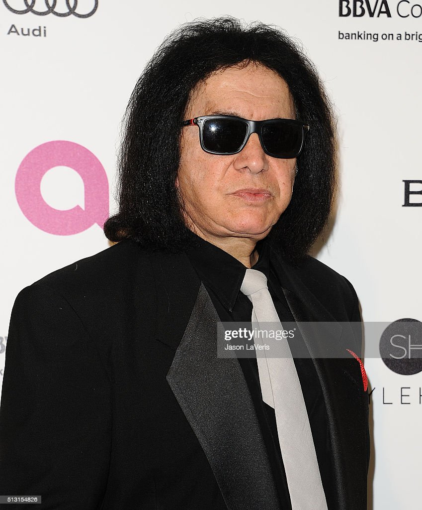 <a gi-track='captionPersonalityLinkClicked' href=/galleries/search?phrase=Gene+Simmons&family=editorial&specificpeople=138593 ng-click='$event.stopPropagation()'>Gene Simmons</a> attends the 24th annual Elton John AIDS Foundation's Oscar viewing party on February 28, 2016 in West Hollywood, California.