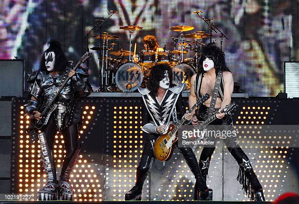 Gene Simmons Eric Singer Thommy Thayer and Paul Stanley of the band Kiss perform on stage during the final day of Rock Im Park Festival at...