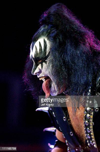 Gene Simmons of Kiss during Wango Tango Performance at Rose Bowl in Pasadena CA United States