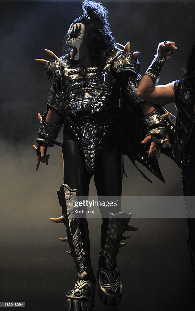 Gene Simmons of KISS on the runway during the Christian Dada show as part of Mercedes Benz Fashion Week Tokyo 2014 S/S at Hikarie Hall A of Shibuya Hikarie on October 17, 2013 in Tokyo, Japan.