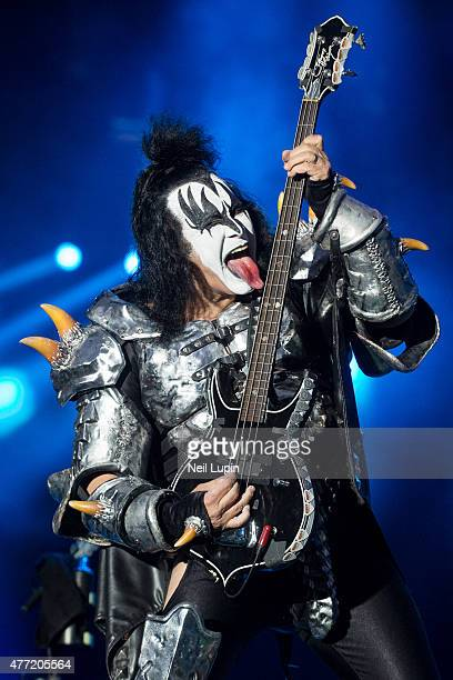 Gene Simmons of KISS performs at Donnington Park on June 14 2015 in Donnington United Kingdom