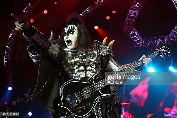 Gene Simmons of KISS performs during their opening show for the Australian leg of their 40th anniversary world tour at Perth Arena on October 3 2015...