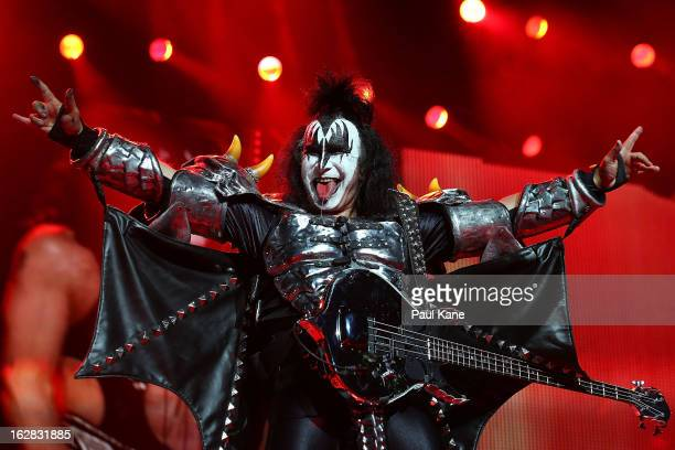 Gene Simmons of KISS performs live on stage as part of their Monster Tour with Motley Crue and Thin Lizzy at Perth Arena on February 28 2013 in Perth...