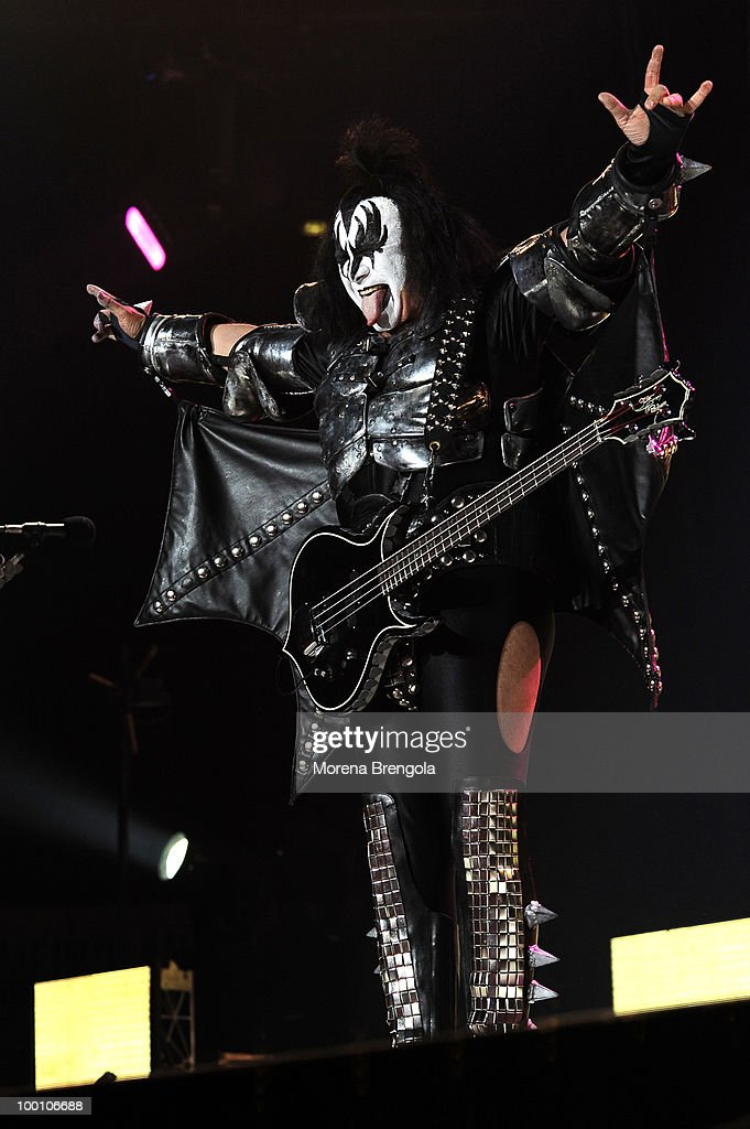 Gene Simmons of the Kiss performs at Mediolanum Forum on May 18, 2010 in Milan, Italy.