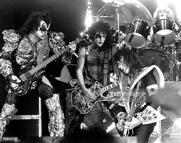 Gene Simmons Paul Stanley Ace Frehley and Peter Criss performing with 'Kiss' at the Cow Palace in Daly City California on December 16 1979