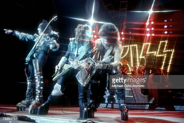 Gene Simmons Paul Stanley and Ace Frehley of the rock and roll band 'Kiss' pose for a portrait session backstage on May 31 1974 in Los Angeles...