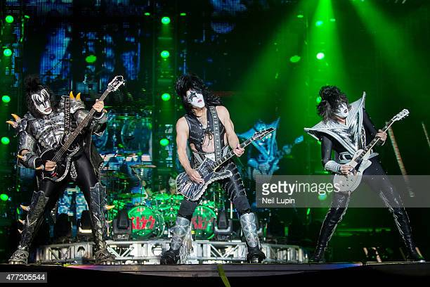 Gene Simmons Paul Stanley and Tommy Thayer of KISS perform at Donnington Park on June 14 2015 in Donnington United Kingdom