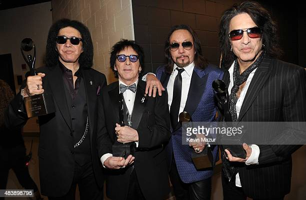Gene Simmons Peter Criss Ace Frehley and Paul Stanley attend the 29th Annual Rock And Roll Hall Of Fame Induction Ceremony at Barclays Center of...