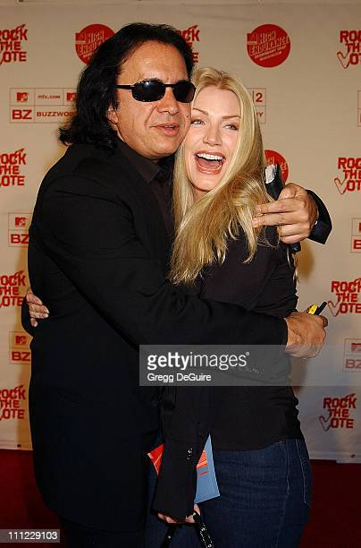 Gene Simmons Shannon Tweed during Rock The Vote 2002 Patrick Lippert Awards Arrivals at House Of Blues in West Hollywood California United States
