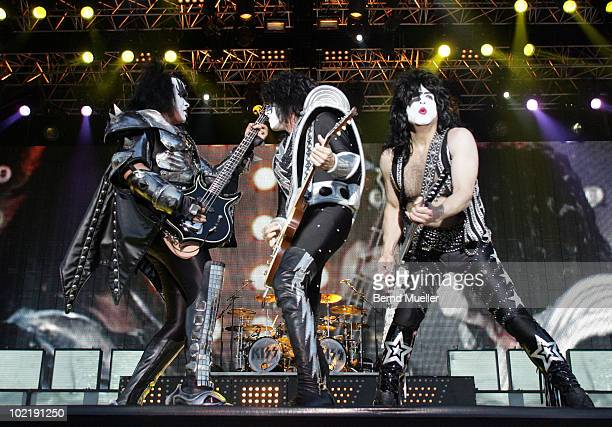 Gene Simmons Thommy Thayer and Paul Stanley of the band Kiss perform on stage during the final day of Rock Im Park Festival at Zeppelinfeld on June 6...