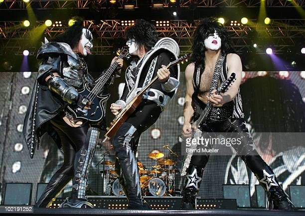 Gene Simmons Thommy Thayer and Paul Stanley of the band Kiss performs on stage during the final day of Rock Im Park Festival at Zeppelinfeld on June...