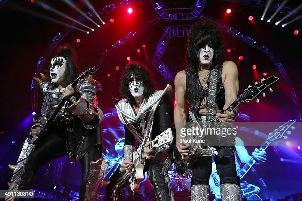 Gene Simmons Tommy Thayer and Paul Stanley of KISS perform during their opening show for the Australian leg of their 40th anniversary world tour at...