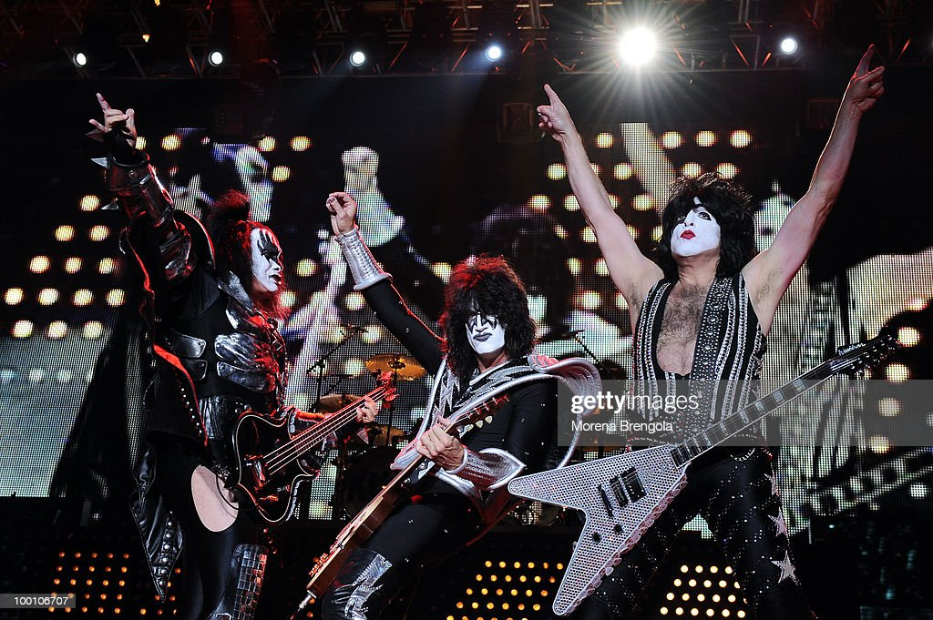 Gene Simmons, Tommy Thayer and Paul Stanley of the Kiss perform at Mediolanum Forum on May 18, 2010 in Milan, Italy.
