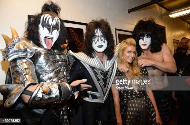 Gene Simmons Tommy Thayer Paris Hilton and Paul Stanley backstage at Fashion Rocks 2014 presented by Three Lions Entertainment at Barclays Center of...