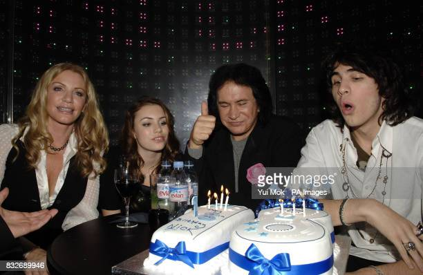 Gene Simmons with his family partner Shannon Tweed daughter Sophie and son Nick who is celebrating his 18th birthday during a party to launch their...