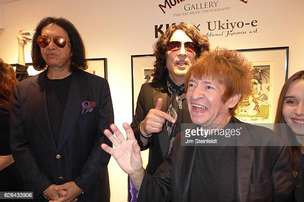 Gene Simmons with Paul Stanley Rodney Bingenheimer and Kansas Bowling at the Morrison Hotel Gallery at the Sunset Marquis Hotel in Los Angeles...