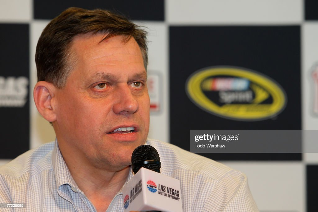 Gene Stefanyshyn, vice president of innovation and racing development at NASCAR, speaks to the media after a testing session at Las Vegas Motor Speedway on March 6, 2014 in Las Vegas, Nevada.