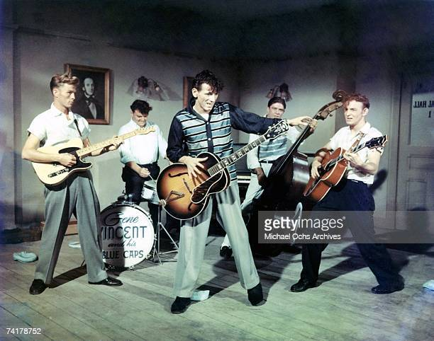 Gene Vincent and His Blue Caps perform on the set of The movie 'The Girl Can't Help It' in 1956 in Los Angeles California