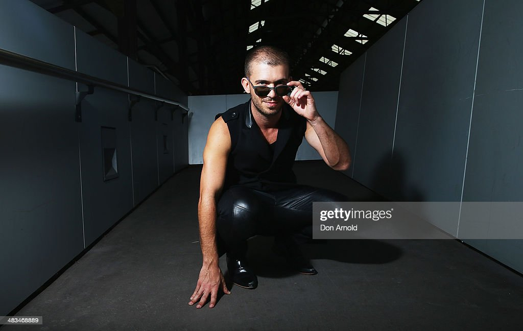 Gene Williams wears a leather top and pant ensemble by Saxony at Mercedes-Benz Fashion Week Australia 2014 at Carriageworks on April 9, 2014 in Sydney, Australia.