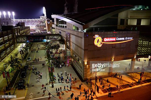 A geneal view of downtown Cleveland on October 25 2016 before the New York Knicks game against the Cleveland Cavaliers at Quicken Loans Arena NOTE TO...