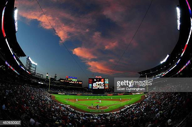 A geneal view of Turner Field during the sixth inning of the game between the Atlanta Braves and the Miami Marlins on July 24 2014 in Atlanta Georgia