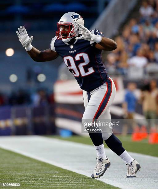 Geneo Grissom of the New England Patriots runs onto the field in the first half during a preseason game with Jacksonville Jaguars at Gillette Stadium...