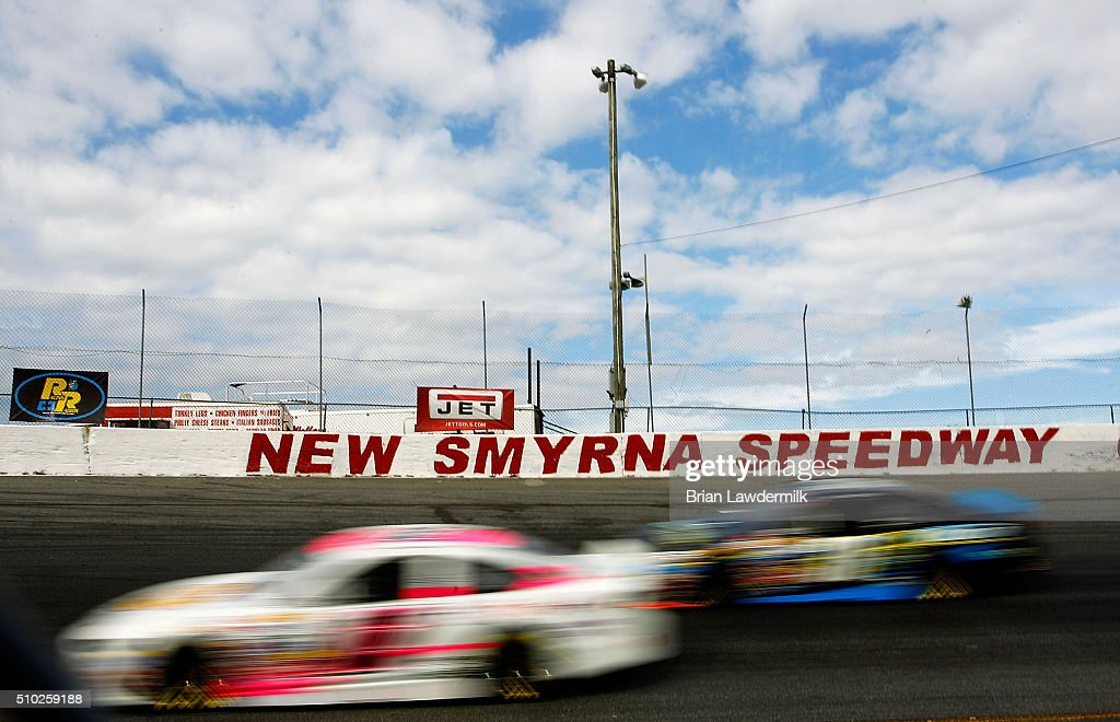 A genera view of racing during practice for the NASCAR K&N Pro Series East Jet Tools 150 at New Smyrna Speedway on February 14, 2016 in New Smyrna Beach, Florida.