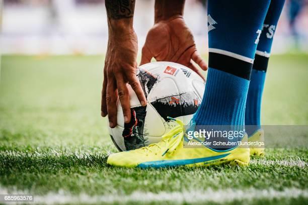 A genera view of the offical adidas matchball during the Bundesliga match between TSG 1899 Hoffenheim and FC Augsburg at Wirsol RheinNeckarArena on...
