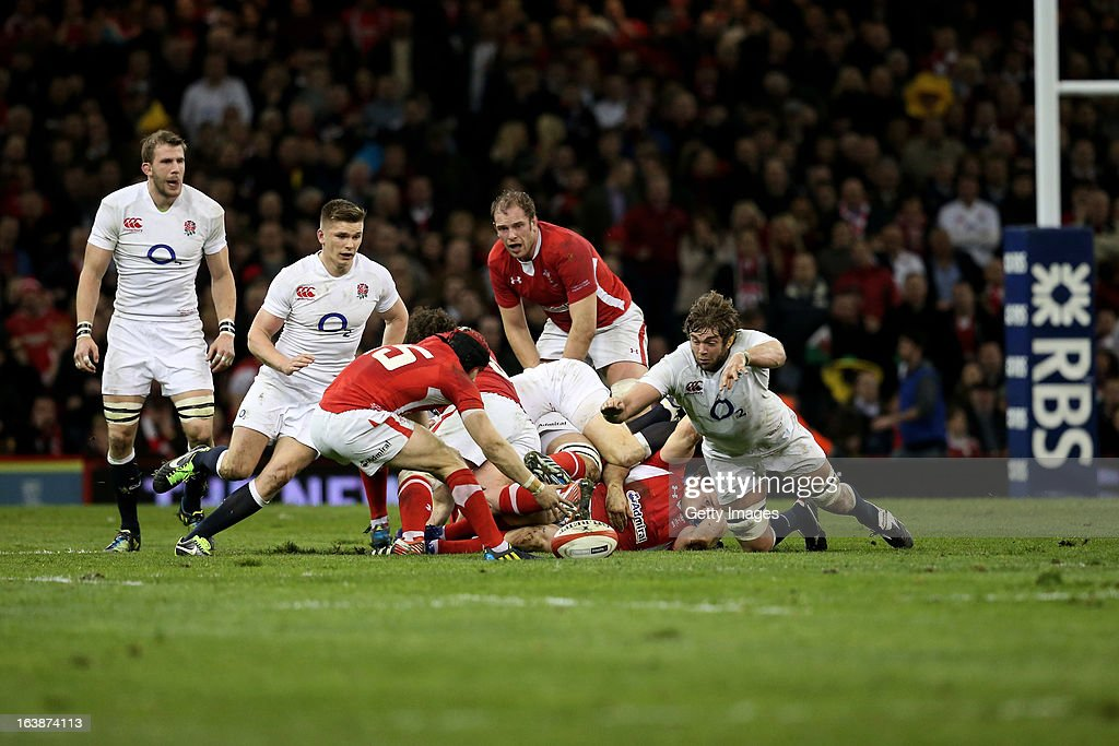 General action during the RBS Six Nations match between Wales and England at Millennium Stadium on March 16, 2013 in Cardiff, Wales.