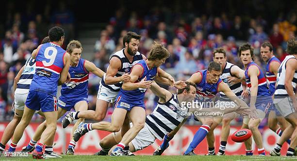 General action during the round four AFL match between the Western Bulldogs and the Geelong Cats at the Telstra Dome April 22 2006 in Melbourne...