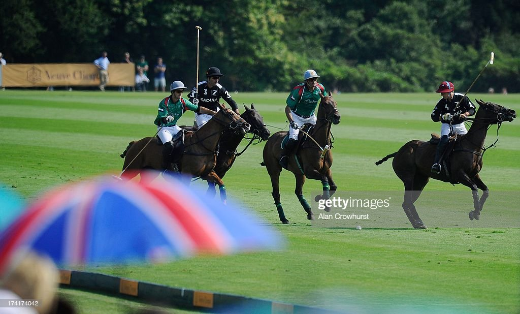 General action during the The Veuve Clicquot Gold Cup for the British Open Polo Championship Final between Dubai and Zacara at Cowdray Park Polo Club on July 21, 2013 in Midhurst, England.