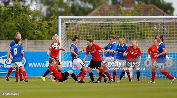 General action during the The WPL Playoff Final between Portsmouth FC Ladies and Sheffield FC Ladies at Stratford Town FC on May 24 2015 in...