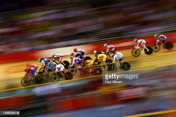 General action during the Women's Omnium Track Cycling 20km Points Race on Day 10 of the London 2012 Olympic Games at Velodrome on August 6 2012 in...