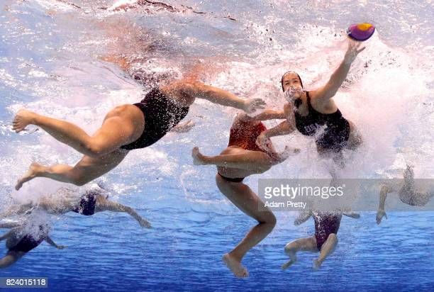 General action during the Women's Water Polo gold medal match between the United States and Spain on day fifteen of the Budapest 2017 FINA World...