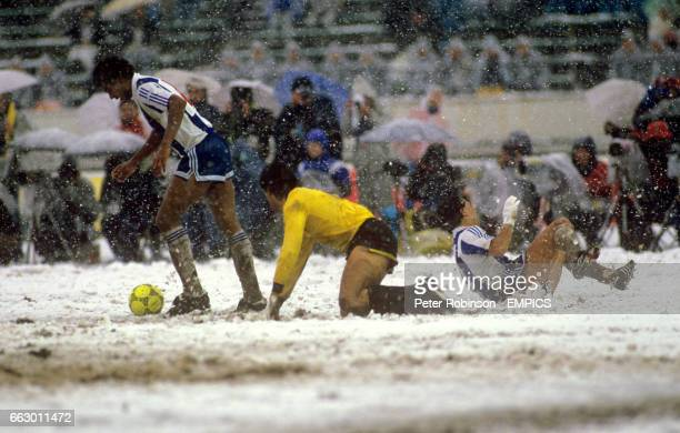 General action from the match as the players struggle in the extreme conditions