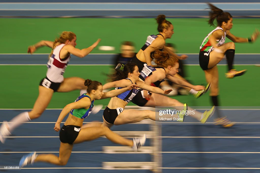 General action in the women's 60m heats during day two of the British Athletics European Trials & UK Championship at the English Institute of Sport on February 10, 2013 in Sheffield, England.