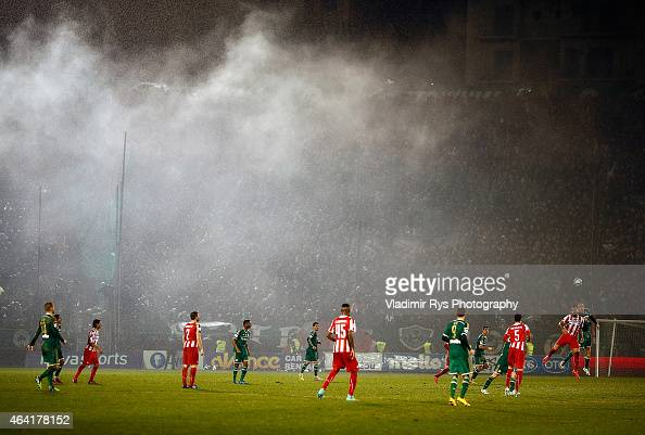 General action is seen during the Superleague match between Panathinaikos FC and Olympiacos at Apostolos Nikolaidis Stadium on February 22 2015 in...