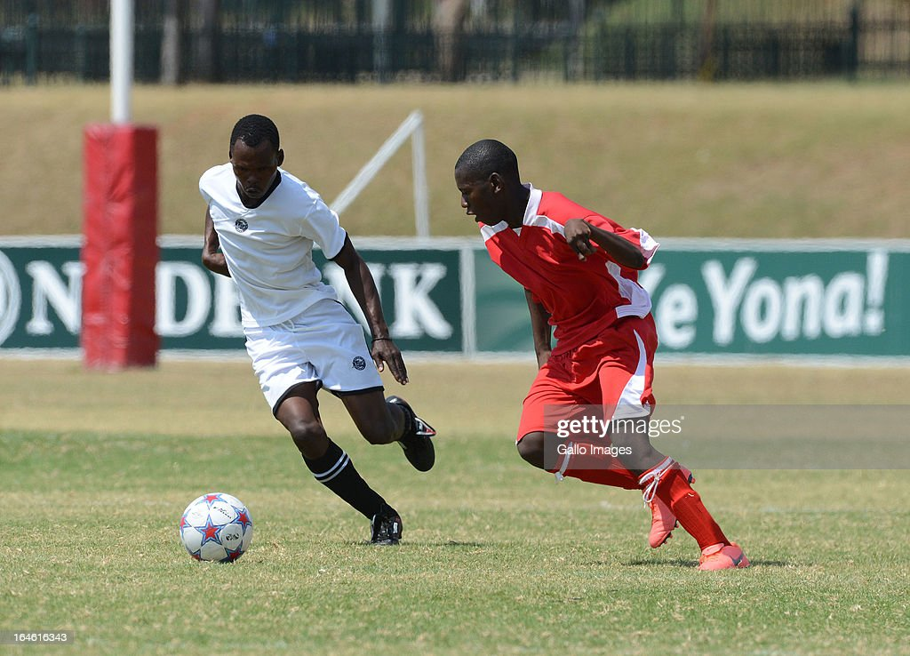 General action of KZN (white) against Easten Cape (red) during the seven a side soccer during day 3 of The Nedbank National Championships for the Physically Disabled on March 25, 2013 in Pretoria, South Africa.