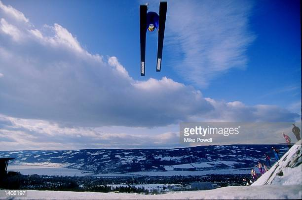 General action of ski jumping during a nordic combined event at Lysgardsbakkene in Lillehammer Norway Mandatory Credit Mike Powell /Allsport